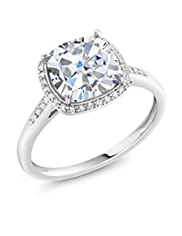 2.15 Ct Cushion Created Moissanite 10K White Gold Ring with Accent Diamonds