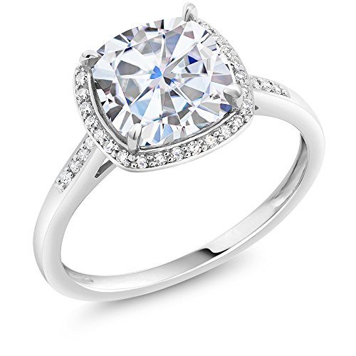 Charles & Colvard Forever 1 G-H-I 2.40 ct DEW (8mm) Cushion Created Moissanite Diamond Accent Halo Engagement Ring in 10K White Gold (Size 6)