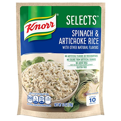 Knorr Selects Rice Side Dish, Spinach & Artichoke, 6 oz (Pack of 8)