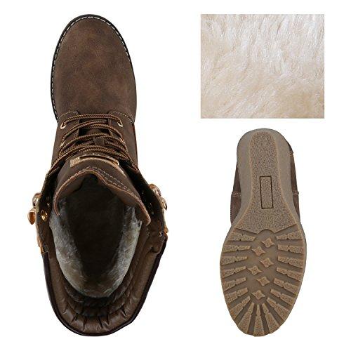 6e961fd0ba8810 ... Stiefelparadies Gefütterte Damen Stiefeletten Keilabsatz Boots Profilsohle  Flandell Braun