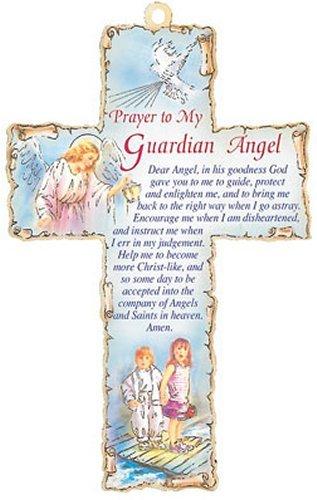 Ange gardien–Croix en bois avec prière à mon ange gardien