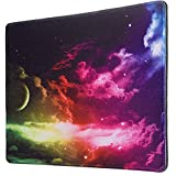 Galaxy Mouse Pad with Locking Edge, Gaming Speed Version Medium Cloth Mouse Mat, Non-Slip Rubber...
