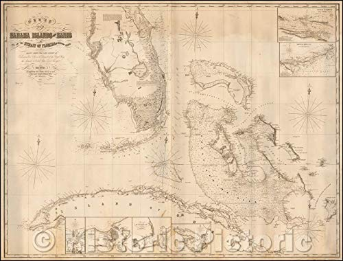 Historic Map | Chart of the Bahama Islands and Banks and of the Strait of Florida & Adjacent Coasts, 1854, James Imray & Son | Vintage Wall Art 24in x 18in
