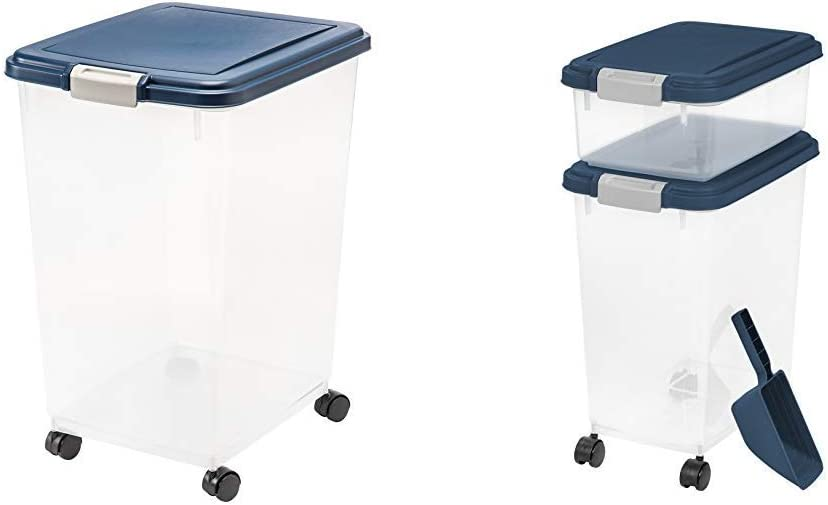 IRIS USA, Inc. IRIS Airtight Food Storage Container, 54-Pounds, No Scoop 3 Piece Airtight Pet Food Storage Container Combo, Navy Blue