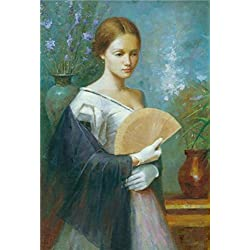 Oil Painting 'Wall Art: Portrait Of A Lady With A Fan' Printing On Perfect Effect Canvas , 10x15 Inch / 25x38 Cm ,the Best Dining Room Gallery Art And Home Decoration And Gifts Is This Vivid Art Decorative Canvas Prints