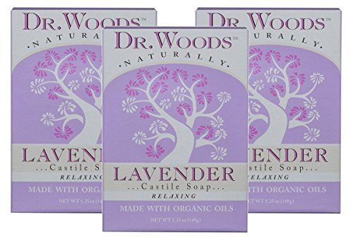Dr. Woods Exfoliating Lavender Bar Soap with Organic Shea Butter, 5.25 oz (Pack of -