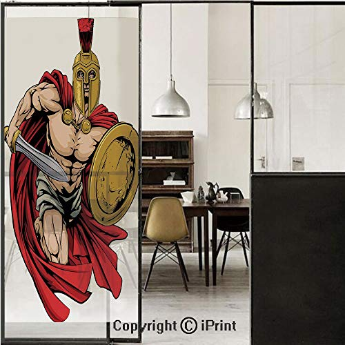 Warrior Sword Ancient - Toga Party 3D Decorative Film Privacy Window Film No Glue,Frosted Film Decorative,Spartan Warrior with Sword and Shield Ancient Legendary Greek World Graphic,for Home&Office,17.7x59Inch Peach Red Gold