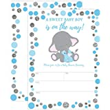 Boy Elephant Baby Shower Invitation, Blue and Silver...