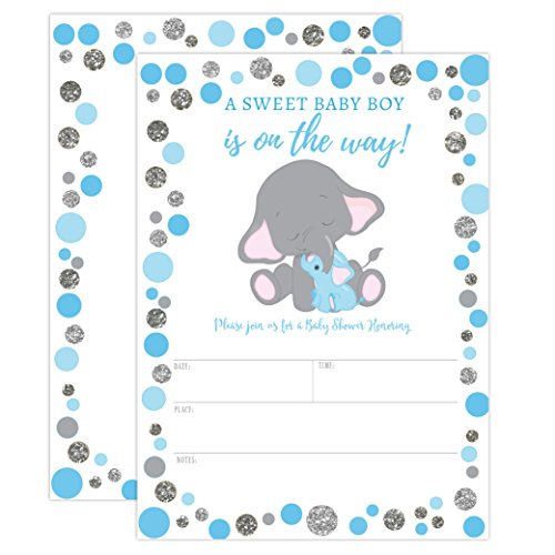 Boy Elephant Baby Shower Invitation, Blue and Silver Elephant Baby Shower, Jungle Baby Shower Invite, It's a Boy, 20 Fill in Invitations and Envelopes