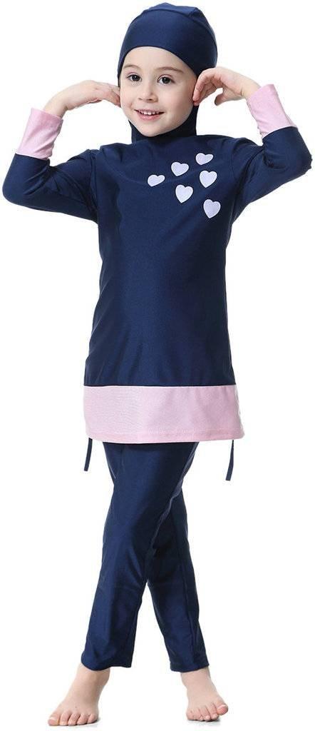 Ababalaya Muslim Girls 2-Piece Full Cover Love Print Conservative Hijab Burkini Swimsuit,Navy,Fits Girls' Height 4'7''