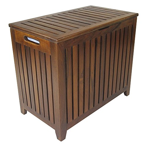 Redmon Genuine Vanity Style Hamper, Wood Grain Teak Bench Hamper