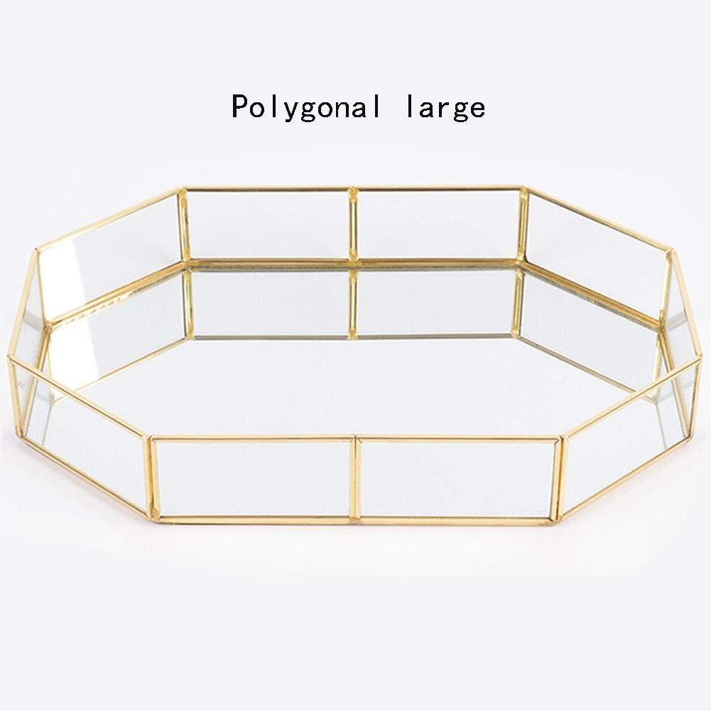 Sponsi Vassoio a specchio Gioielli Casa Storage Polygonal Small Gold Organizzatore Trucco Gioielli Vassoio per T/è Vetro Semplice Decorazione Trucchi Vetro Vetro