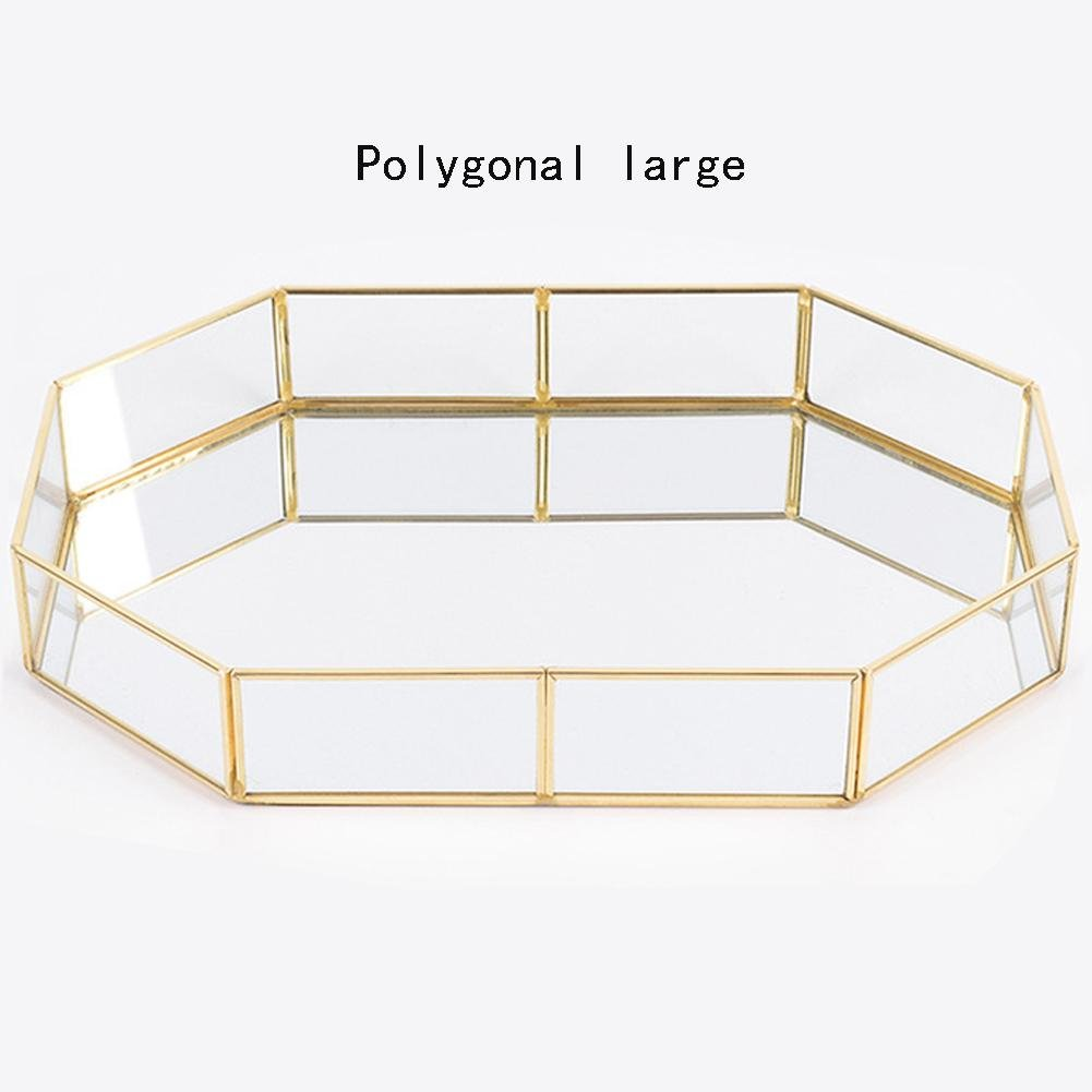 Melo-bell Vintage Glass Storage Tray Perfume Candle Mirror Cosmetics Tray Desktop Storage Decorative Plate Metal Glass Organiser Tray For Dresser, Bedroom by Melo-bell