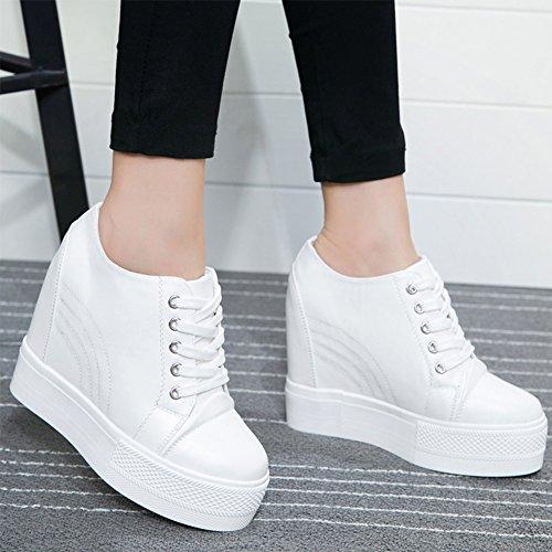 Pp Mode Dames Lage Top Verborgen Hiel Pu Wedges Platform Sneakers Wit