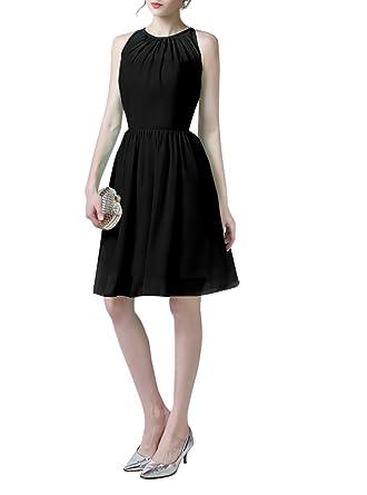 Ymacy Cheap Short Halter Homecoming Dress Chiffon Prom Dresses Black, 2