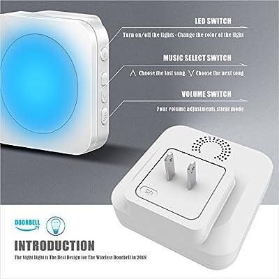 Wireless Doorbell - Door bells Kit,Cordless Doorbells with 1 Waterproof Remote Button and 2 Plugin Receivers.Over 1300ft Operating Range,52 Chimes.4 Adjustable Volume (7 Colors Night Light)