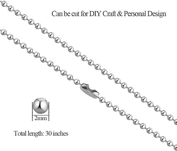 Amazon.com: pistha 20 piezas acero inoxidable cadena de ...