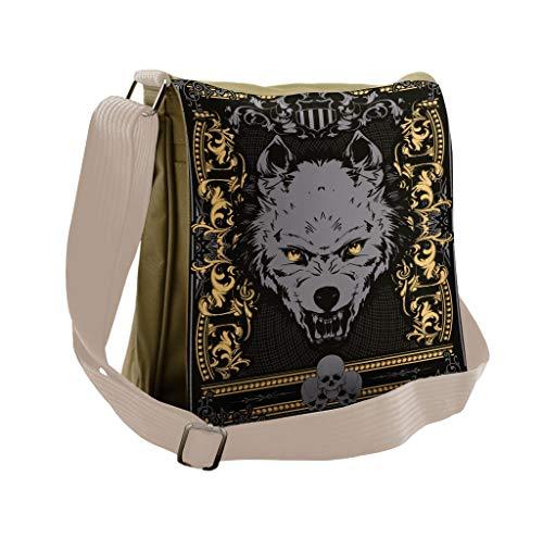 Lunarable Scary Messenger Bag, Wild Gothic Wolf Portrait, Unisex Cross-body