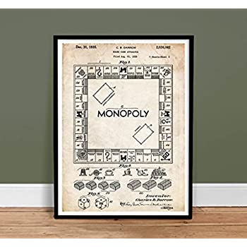 Amazon.com: MONOPOLY POSTER Board Game Blueprint US Patent ...