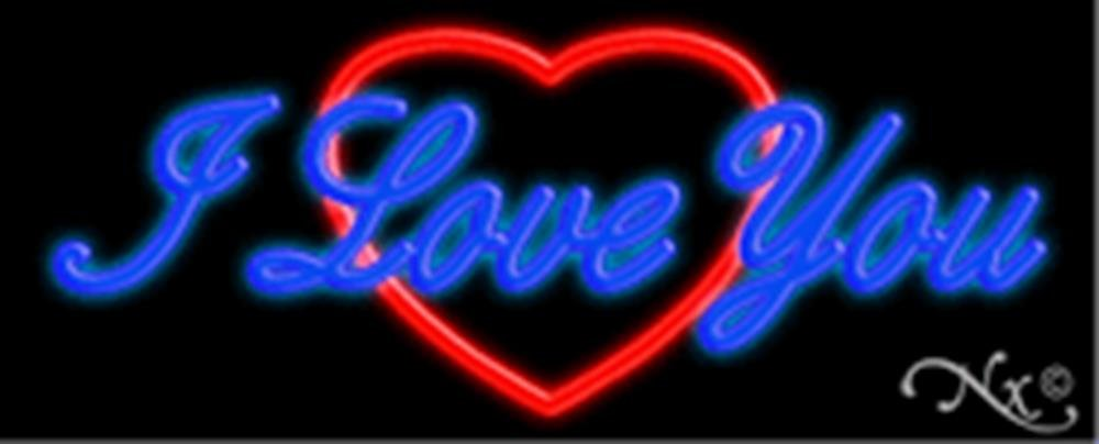13x32x3 inches I Love You, Logo NEON Advertising Window Sign