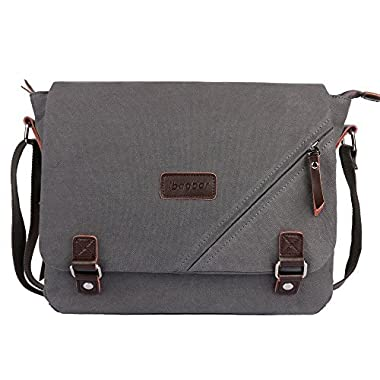 ibagbar 14-Inch Large Canvas Shoulder Laptop Bag, Gray