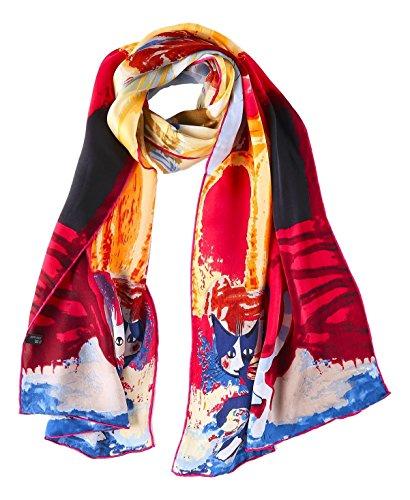 YangtzeStore Women's 100% Luxurious Long Silk Scarf Classic Art Collection (Blue and red Cat) ()