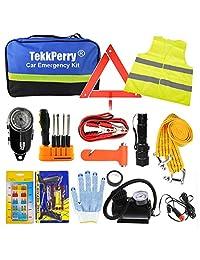 TekkPerry Kit de emergencia para coche, kit de emergencia de asistencia en carretera, juego de 14 piezas de herramientas de seguridad para coche con cables de puente, presión de neumáticos, grifo de remolque para viajes, camping, aventura para su camión,