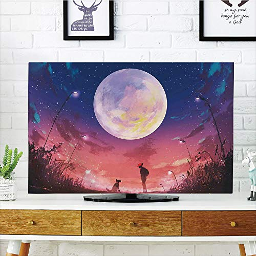 iPrint LCD TV dust Cover Strong Durability,Fantasy House Decor,Young Woman with A Dog Under Huge Moon Starry Sky Celestial Magical Friendship Art,Navy Coral,Picture Print Design Compatible 50