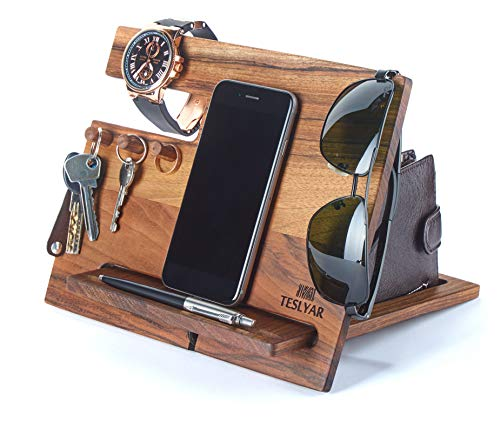 Wood Phone Docking Station Walnut Hooks Key Holder Wallet Stand Watch Organizer Men Gift Husband Wife Anniversary Dad Birthday Nightstand Purse Tablet Father Graduation Male Travel Idea Gadgets