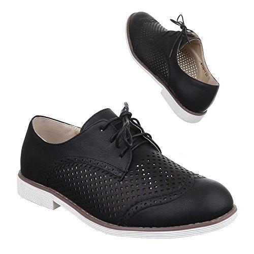 Ital-Design Damen Schuhe, 6139-1, Halbschuhe Perforierte Schnürer Schwarz