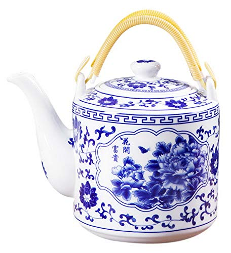 Ceramic Cold Kettle Boiled Teapot with Double Handle, 70 Oz, Rich Peony Blossoms - Double Teapot Handle