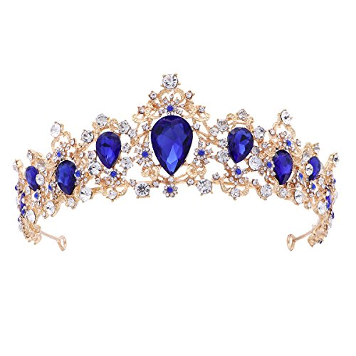 Frcolor Tiara Crown for Women,Rhinestone Tree Branch Queen Crowns Wedding Tiaras Crowns Headband (Blue)