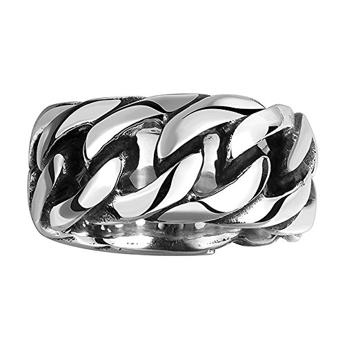Silver Chain Ring (Autudress Men's 316L Stainless Steel Openwork Link Chain Ring Band Gothic Tribal Biker Silver Black Size 8)