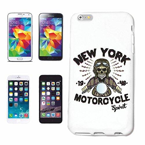 caja del teléfono iPhone 7 NEW YORK MOTOCYCLE ESPÍRITU CAMISETA motorista de la motocicleta motocicleta del interruptor del cráneo gótico club de la motocicleta BICICLETA RUTA 66 Caso duro de la cub