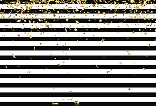 MEHOFOTO Photo Booth Background Black and White Stripe Christmas Gold Stars Birthday Party Backdrops for Photography 8x6ft