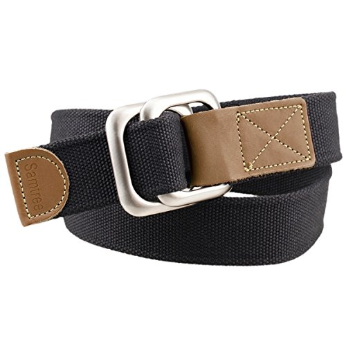 Moonsix Canvas Belts for Men Women,Solid Color Casual D Ring Webbing Belt(Black)