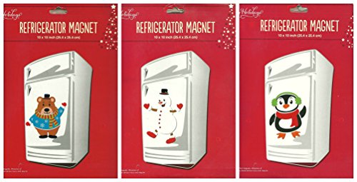 Snowman Refrigerator Magnet (Assorted Christmas and Winter Themed Refrigerator Magnets - 3 sheets)