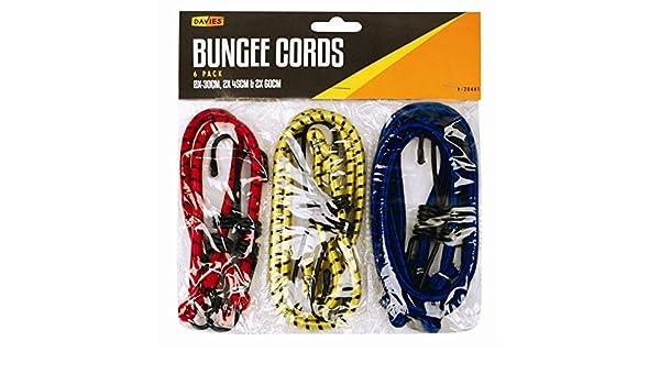 accesorios del coche 6 Pack Bungee Cord varios tama/ños y colores Bungee Cord