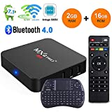 MXQ Pro Android 7.1 TV Box 2GB Ram 16GB Rom Quad Core Amlogic S905X 2.4Ghz/5Ghz Dual WiFi True 4K Playing with Bluetooth Full HD Media Player with Free Wireless Keyboard