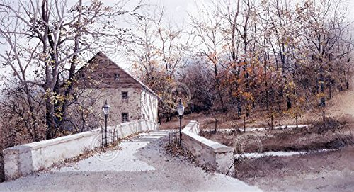 Poster Ray Mill (The Mill Bridge Ray Hendershot Country Scene Winter Tree Nature Poster (Choose Size of)