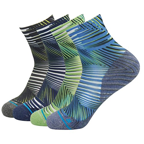 HUSO Unique Sweat Moisture Wicking Daily Football Training Athletic Cushioned Ankle Crew Running Socks Men Women Youth 4 Pairs (Multicolor, L/XL)