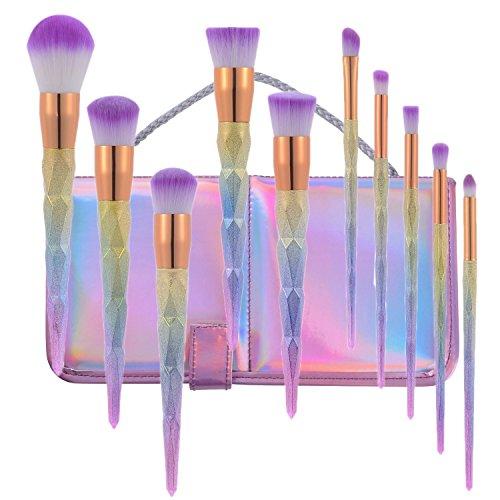 Lospu HY 10pcs Diamond Cosmetic Makeup Brushes Set Foundation Eye shadow Blusher Unicorn Blending Make up kwasten Brush with Travel Pouch