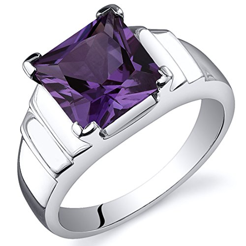 Peora Simulated Alexandrite Princess Ring Sterling Silver...