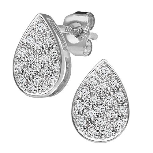 Revoni Bague en or blanc 9carats-Mesdames 15pt Diamant Boucles d'oreilles