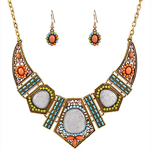Polytree Women's Boho Colorful Hollow Statement Chain Choker Necklace Hook Earrings -