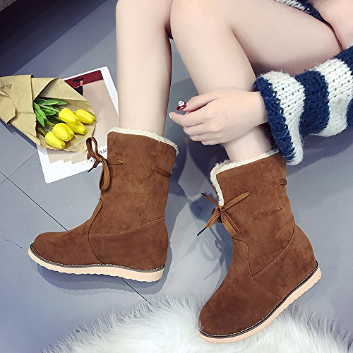 Trim Boots Ladies Ankle Shoes Warm Womens Flat Martin Biker Ankle Low Womens Boots Bestoppen Wedge Brown OUEnw8R4