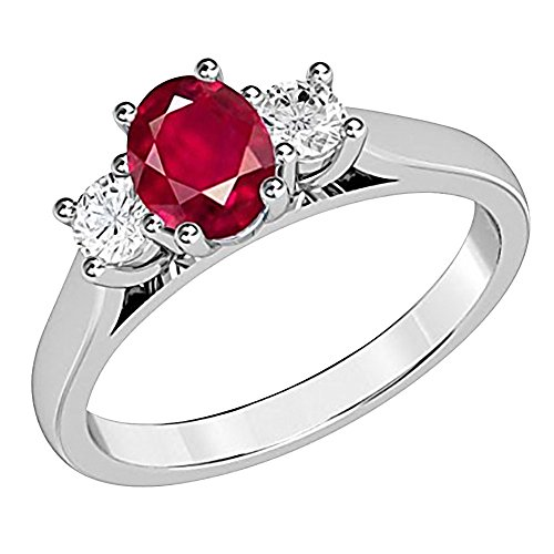 Voss+Agin 1.00CTW Oval Genuine Ruby and Diamond 3 Stone Ring in Sterling Silver (7) 3 Stone Ruby Diamond