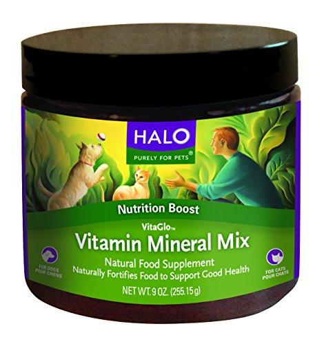 Halo Vita Glo Vita-Mineral mezcla suplemento Natural para perros y gatos, 9,5 oz