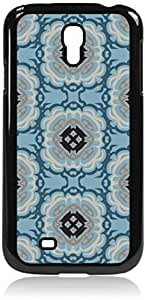 Floral Outlines Pattern - Blue- Case for the Samsung Galaxy S4 i9500- Hard Black Plastic Snap On Case