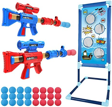 YEEBAY Shooting Game Toy for Age 5, 6, 7, 8,9,10+ Years Old Kids, Boys – 2pk Foam Ball Popper Air Guns & Shooting Target & 24 Foam Balls – Ideal Gift – Compatible with Nerf Toy Guns
